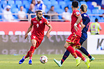 Mahdi Faisal Alhumaidan of Bahrain (L) in action during the AFC Asian Cup UAE 2019 Group A match between Bahrain (BHR) and Thailand (THA) at Al Maktoum Stadium on 10 January 2019 in Dubai, United Arab Emirates. Photo by Marcio Rodrigo Machado / Power Sport Images