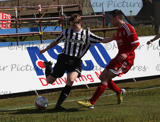Barry Cuddihay attacking in the Aberdeen v St Mirren Clydesdale Bank Scottish Premier League Under 20 match played at Balmoor Stadium, Peterhead on 19.4.13.