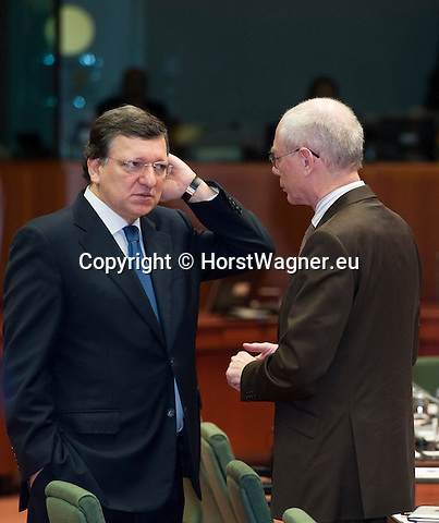 Brussels-Belgium - March 15, 2013 -- European Council, EU-summit meeting of Heads of State / Government; here, José (Jose) Manuel BARROSO (le), President of the European Commission, with Herman Van ROMPUY (ri), President of the European Council -- Photo: © HorstWagner.eu