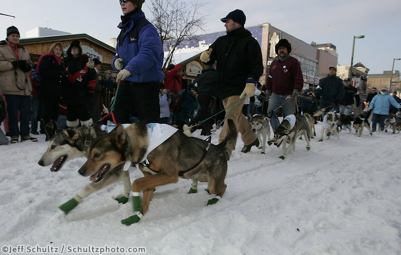Aaron Burmeister and handlers walk her dogs down Anchorage's 4th avenue toward the start line .