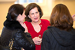 WATERBURY , CT-011519JS09-  Judy Vredenburgh, President and CEO of Girls Inc., center, talks with guests prior to a kick-off to celebrate Girls, Inc's 155th anniversary Tuesday at Waterbury City Hall. Girls inc., will celebrate with an open ouse on January 30, 2019 from 4 p.m. to 7 p.m. with a dedication of the gym in honor of longtime board member and supporter Nancy Camp. <br /> Jim Shannon Republican American
