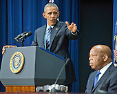 United States President Barack Obama makes remarks at a session hosted by the White House Office of Public Engagement on strengthening and protecting the right to vote at the White House in Washington, DC on Thursday, August 6, 2015. The event was attended by civil rights leaders, faith leaders, voting rights activists and state and local officials.  At right is US Representative John Lewis (Democrat of Georgia.)<br /> Credit: Ron Sachs / Pool via CNP