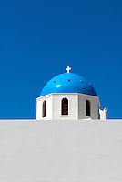 The striking blue Cycladic-style domes of Santorini's old churches are the most recognizable feature of the town Oia on the north end of the island. Each of the 70 churches in the Santorini town of Oia has its own historical tale. As a community of sailors, families built churches in order to ensure that the God would favor them with safe journeys.
