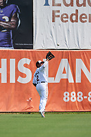 Bowie Baysox outfielder Ademar Rifaela (2) catches a fly ball during an Eastern League game against the Akron RubberDucks on May 30, 2019 at Prince George's Stadium in Bowie, Maryland.  Akron defeated Bowie 9-5.  (Mike Janes/Four Seam Images)