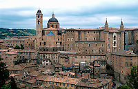 Overview of of an Italian medieval hilltop city. Marches Region, Italy.