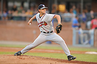 Rome Braves pitcher Willie Kempf #20 delivers a pitch during a game against the Asheville Tourists at McCormick Field on August 18, 2011 in Asheville, North Carolina. Rome won the game 12-11.   (Tony Farlow/Four Seam Images)