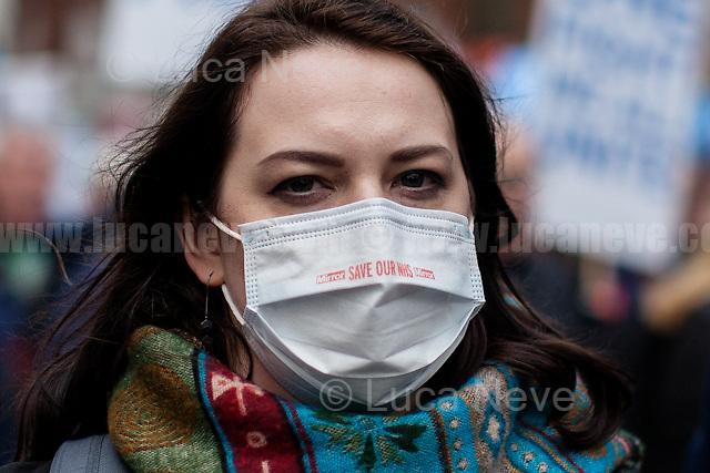 London, 04/03/2017. Today, hundreds of thousands activists (estimated 250,000 people for the organisers), doctors, nurses and members of the public marched from Tavistock Square (British Medical Association HQ) to Parliament Square. The demonstration, organised by Health Campaigns Together &amp; The People's Assembly, was called to protest against the National Health Service (NHS) crisis (and alleged privatization plan) which recently led the Red Cross to declare a humanitarian crisis in the British NHS and were forced to intervene. From the organisers Facebook event page: &lt;&lt;[&hellip;] We must fight to save the NHS from destruction. The threat is real. It is happening now. Hospitals, GPs, mental health, ambulance and community services are on their knees. Private companies are gaining an ever greater foothold within the NHS. Years of pay restraint has seen the value of NHS staff salaries reduce by 14% since 2010. The Government's Sustainability and Transformation Plans are a smokescreen for a massive programme of hospital and community service closures, and are its latest instrument for privatisation. The NHS is one of our greatest achievements. We cannot allow it to be undermined and ultimately destroyed. [&hellip;] &quot;the NHS will last as long as there are folk with the faith to fight for it.&quot; Nye Bevan - founder of the NHS [&hellip;]&gt;&gt;.<br />