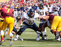 September 22, 2012: California's Jordan Rigsbee guards the line of scrimmage during a game against USC at the Los Angeles Memorial Coliseum, Los Angeles, Ca  USC defeated California 27- 9