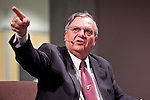 """Nov. 30, 2009 -- PHOENIX, AZ: JOE ARPAIO, the Maricopa County Sheriff, answers questions at the Walter Cronkite School of Journalism and Mass Communication at Arizona State University in Phoenix, AZ. The event was billed as a """"Meet the Press"""" type interview with controversial Maricopa County Sheriff Joe Arpaio. Arpaio was questioned by three members of the faculty, all former journalists. About 3/4 of the way through the one hour program, protestors opposed to Sheriff started singing and effectively shut down the program forcing the sheriff to leave early. Several hundred protestors, both opposed to and supporting the sheriff, picketed the front of the school during the program.   Photo by Jack Kurtz"""