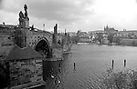 Charles Bridge, Karlov Most over the Vltava river and Prague Castle in Prague, Czech Republic