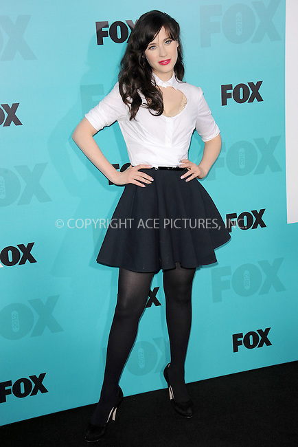 WWW.ACEPIXS.COM . . . . . .May 14, 2012...New York City....Zooey Deschanel attending the 2012 FOX Upfront Presentation in Central Park on May 14, 2012  in New York City ....Please byline: KRISTIN CALLAHAN - ACEPIXS.COM.. . . . . . ..Ace Pictures, Inc: ..tel: (212) 243 8787 or (646) 769 0430..e-mail: info@acepixs.com..web: http://www.acepixs.com .