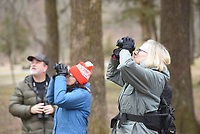 NWA Democrat-Gazette/FLIP PUTTHOFF <br /> Jeff Belcher (from left), Liz Adam and Kitty Sanders look for birds on Feb. 16 2019 at Devil's Den State Park.