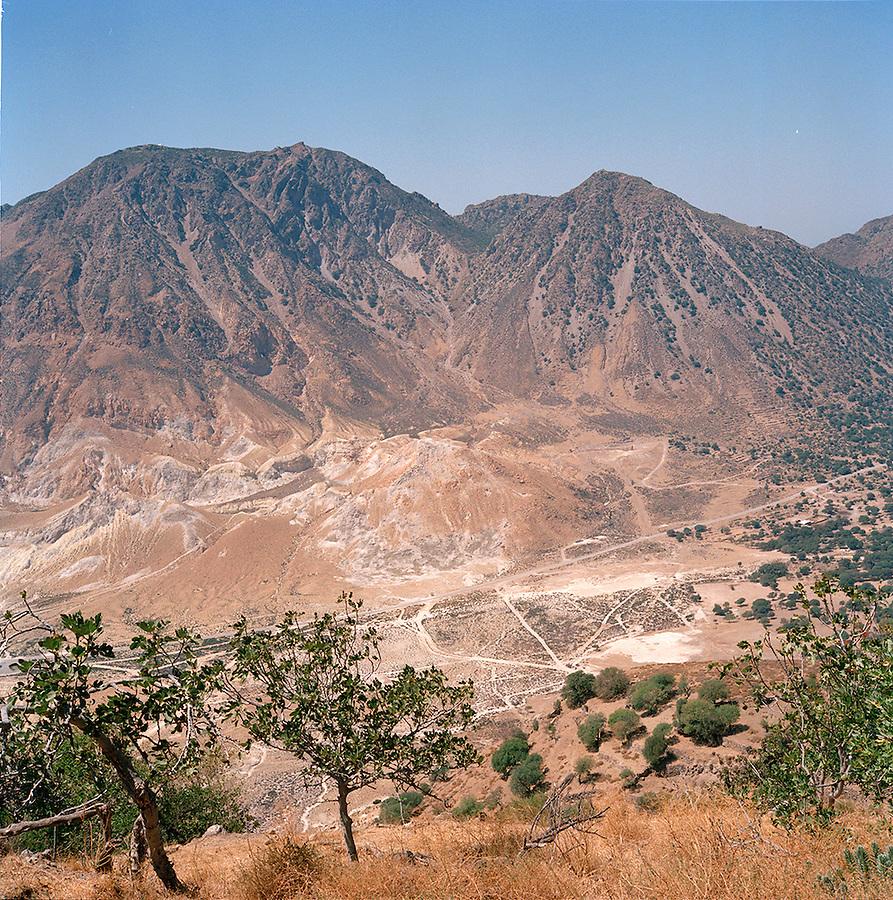 Volcanic caldera on the island of Nisyros, Dodecanese islands, Greece