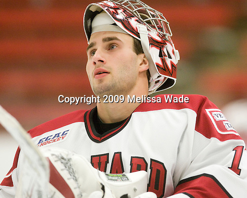 John Riley (Harvard - 1) - The St. Lawrence University Saints defeated the Harvard University Crimson 3-2 on Friday, November 20, 2009, at the Bright Hockey Center in Cambridge, Massachusetts.
