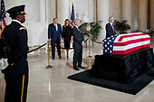 President Donald Trump and first lady Melania Trump arrive to pay their respects to the late Supreme Court Justice John Paul Stevens as he lies in repose in the Great Hall of the Supreme Court in Washington, Monday, July 22, 2019. <br /> Credit: Andrew Harnik / Pool via CNP