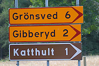 Sign to Katthult. The original location where Astrid Lindgren's story of Emil in Lonneberga (Emil get's into mischief') was filmed. Katthult Smaland region. Sweden, Europe.