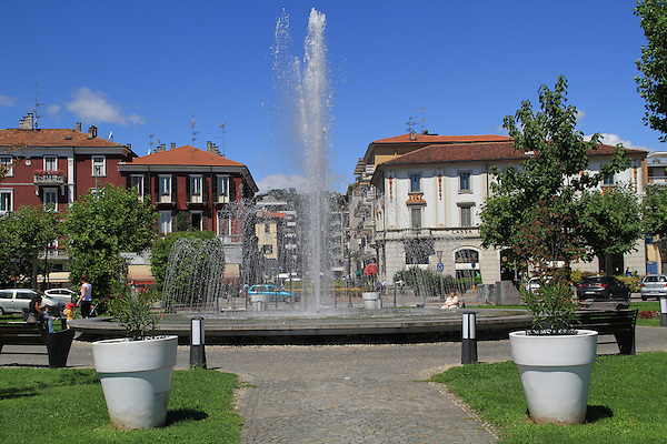 Water fountain in Arona, along Lake Maggiore, lake district in northern Italy.
