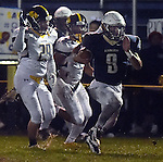 (Lexington MA 10/28/16) Lexington 9, Sal Frelick, runs into the end zone, for the first touchdown of the game, Andover 29, James McGlynn, Friday, Oct 28, 2016, at Lexington High School. (Jim Michaud / Journal Inquirer)