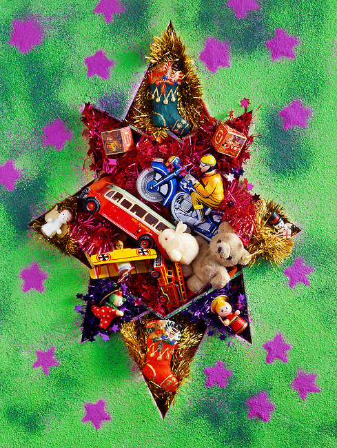 festive christmas star with toys and presents