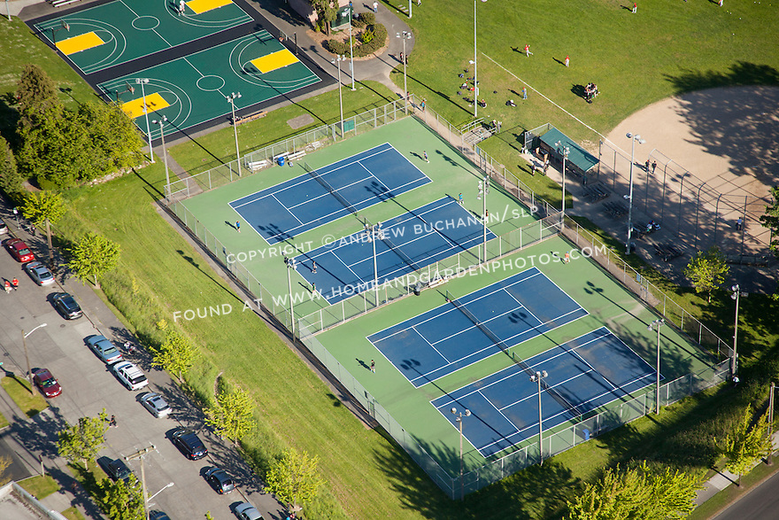 aerial photo of tennis and basketball courts at a public park