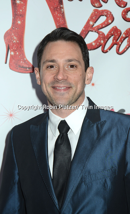 "Steve Kazee arrives at the ""Kinky Boots"" Broadway Opening on April 4, 2013 at The Al Hirschfeld Theatre in New York City. Harvey Fierstein wrote is the Book Writer and Cnydi Lauper is the Composer."