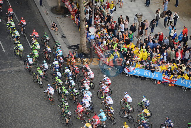 The peloton on the Champs Elysees in Paris during Stage 21 of the 2015 Tour de France running 109.5km from Sevres to Paris - Champs Elysees, France. 26th July 2015.<br /> Photo: ASO/X.Bourgois/Newsfile