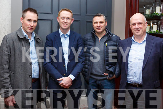 Attending the launch of the AIB Tralee, in association with Tralee Chamber Alliance, a Health & Wellbeing seminar in the Abbey Hotel on Thursday evening last. L-r Jim Lynch, Colm Cooper, Shane O'Brien and John Keating.
