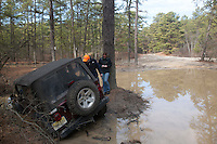 Jeep stuck in big puddle, Pine Barrens, NJ