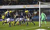 Blackburn Rovers' Joe Nuttall with a header towards goal<br /> <br /> Photographer Rob Newell/CameraSport<br /> <br /> The EFL Sky Bet Championship - Millwall v Blackburn Rovers - Saturday 12th January 2019 - The Den - London<br /> <br /> World Copyright &copy; 2019 CameraSport. All rights reserved. 43 Linden Ave. Countesthorpe. Leicester. England. LE8 5PG - Tel: +44 (0) 116 277 4147 - admin@camerasport.com - www.camerasport.com