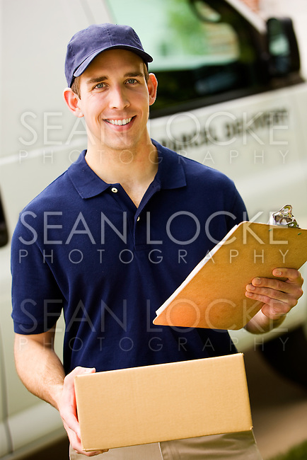 Series with with a delivery man dropping off flowers, boxes, balloons, etc. to a residential suburban home.