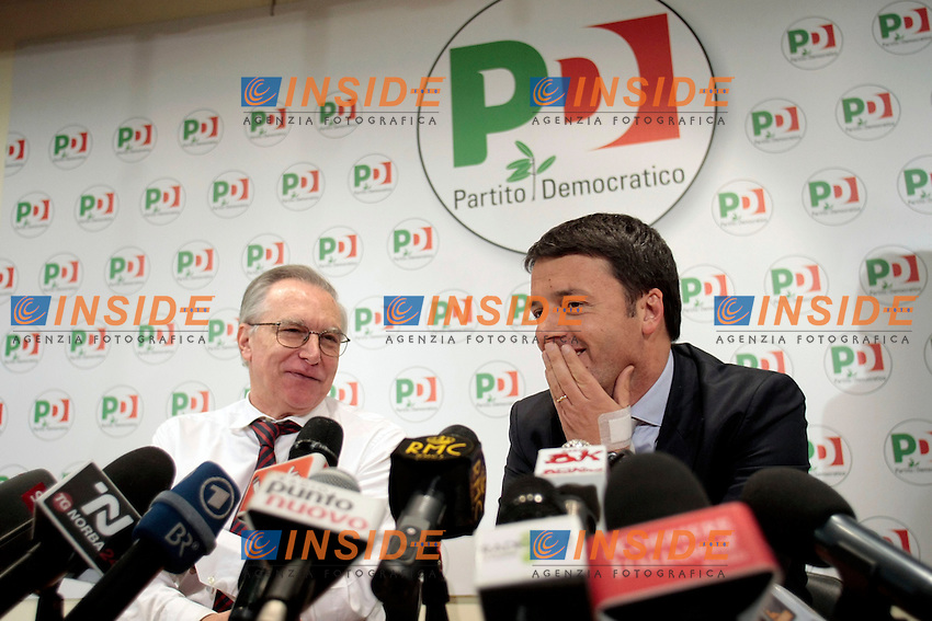 Guglielmo Epifani e Matteo Renzi<br /> Roma 08/12/2013 Sede del PD. Conferenza stampa di Matteo Renzi nuovo segretario del Partito Democratico.<br /> Press conference of the new secretary of Democratic Party.<br /> Photo Samantha Zucchi Insidefoto