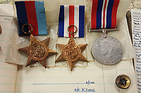 BNPS.co.uk (01202 558833)<br /> Pic: BeechAuctions/BNPS<br /> <br /> Flt Sgt Ernest McGuire's medals.<br /> <br /> Sold for £700, after being rescued from a waste bin - the tragic tale of a doomed Lancaster crew - shot down on its last mission over Germany, on Christmas Eve 1944, the pilots 21st birthday...<br /> <br /> The poignant archive belonged to the family of Flt Sgt Ernest McGuire, wireless operator on the doomed Lancaster Bomber ND388 that set off on Christmas eve 1944.<br /> <br /> The aircraft was due to fly to it's 30th and final operation in Cologne from RAF Grimsby but never made it to its destination.