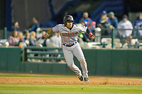 Inland Empire 66ers Jahmai Jones (8) takes his lead off of first base against the Rancho Cucamonga Quakes at LoanMart Field on April 12, 2018 in Rancho Cucamonga, California. The 66ers defeated the Quakes 5-4.  (Donn Parris/Four Seam Images)