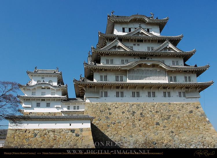 Himeji Castle South View Tenshu Main Tower Nishi Shotenshu Kotenshu from Bizenmaru Honmaru Inner Bailey Shirasagi-jo White Heron Castle Himeji Japan