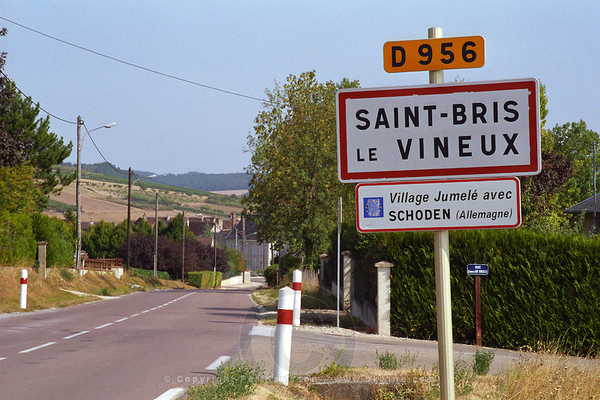 Road sign: Saint-Bris le Vineux, one of the northern-most appellations in Burgundy  .