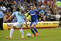 Cesar Azpilicueta (28) goes up aginst Karim Rekik, Manchester City..Manchester City defeated Chelsea 4-3 in an international friendly at Busch Stadium, St Louis, Missouri.