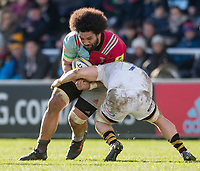 Harlequins' Mathew Luamanu is tackled by Wasps' Thomas Young<br /> <br /> Photographer Bob Bradford/CameraSport<br /> <br /> Aviva Premiership Round 14 - Harlequins v Wasps - Sunday 11th February 2018 - Twickenham Stoop - London<br /> <br /> World Copyright &copy; 2018 CameraSport. All rights reserved. 43 Linden Ave. Countesthorpe. Leicester. England. LE8 5PG - Tel: +44 (0) 116 277 4147 - admin@camerasport.com - www.camerasport.com