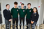 BT Young Scientists students, Sorcha Nic Gearailt (Gaelcolaiste Chiarrai) Peter Kyselica, Cian Lynch and Donal Brennan from the Killorglin Community College with Leah Ní Sheanacháin (Gaelcolaiste Chiarrai) attending the ETB Awards evening in the I T Tralee on Friday night.