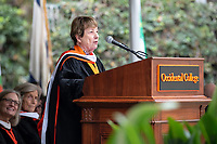 Guest speaker Cathie Selleck '55 addresses the graduates<br />