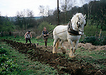 Simon Fairlie ploughing with Sam  the community's  heavy horse.   Simon is a leading land rights campaigner and one of the residents at Tinkers Bubble - the  Low impact  community nr Yeovil that has  recently  been granted planning permission to  put  up  Gers and low impact  dwellings.  This is  an unprecedented decision and sets the  way for  similar communities to  follow in their footsteps.