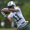 Robby Anderson #11, New York Jets wide receiver, makes a catch during the first day of offseason training activity at the Atlantic Health Jets Training Center in Florham Park, NJ on Tuesday, May 23, 2017.