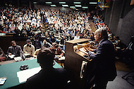 Montreal, Canada, March 1978. Quebec Premier René Levesque giving a lecture at McGill University.