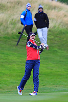 Jessica Korda of Team USA on the 2nd fairway during Day 2 Foursomes at the Solheim Cup 2019, Gleneagles Golf CLub, Auchterarder, Perthshire, Scotland. 14/09/2019.<br /> Picture Thos Caffrey / Golffile.ie<br /> <br /> All photo usage must carry mandatory copyright credit (© Golffile | Thos Caffrey)