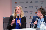 UTRECHT - KNHB Hockeycongres 2016.  dagvoorzitter Jan Bart Wildschut , Heleen Crielaard (RABO).   Foto Koen Suyk.