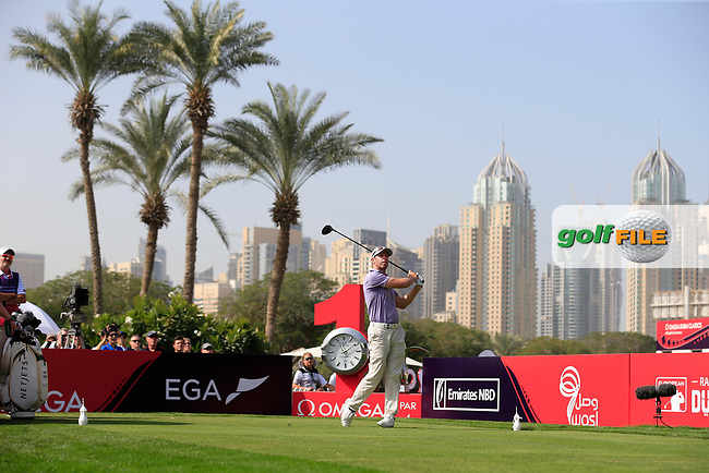 Bradley Dredge (WAL) on the 1st tee during Round 4 of the Omega Dubai Desert Classic, Emirates Golf Club, Dubai,  United Arab Emirates. 27/01/2019<br /> Picture: Golffile | Thos Caffrey<br /> <br /> <br /> All photo usage must carry mandatory copyright credit (&copy; Golffile | Thos Caffrey)