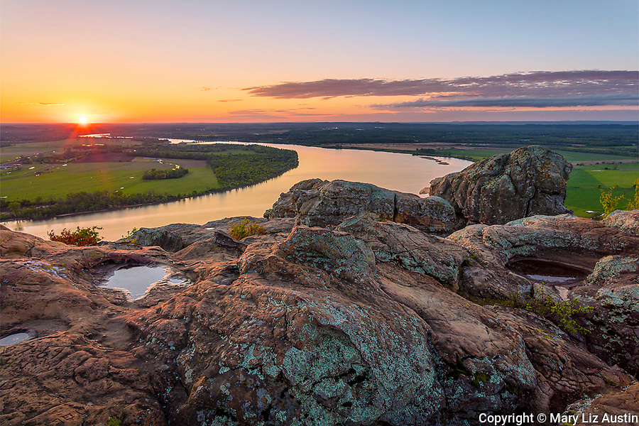 Petit Jean State Park, AR: Sunrise of the Arkansas River Valley from Stout Overlook