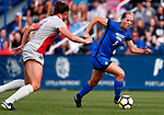 Flake, Elise_W2_2078<br /> <br /> BYU's Elise Flake drives on an Ohio State defender in the first half. The game between BYU and Ohio State ended in a scoreless draw at South Field on August 21, 2017.<br /> <br /> 17wSOC vs Ohio State<br /> <br /> August 21, 2017<br /> <br /> Photo by Jaren Wilkey/BYU<br /> <br /> © BYU PHOTO 2017<br /> All Rights Reserved<br /> photo@byu.edu  (801)422-7322