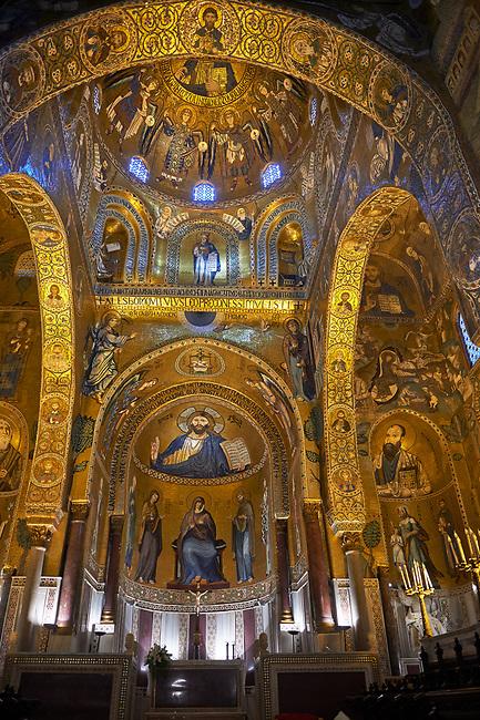 Medieval Byzantine style mosaics of the main aisle & altar,  Palatine Chapel, Cappella Palatina, Palermo, Italy