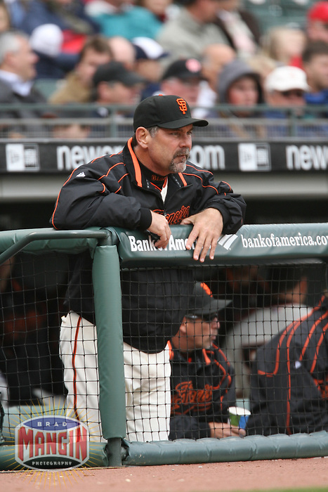 SAN FRANCISCO - April 19:  Manager Bruce Bochy of the San Francisco Giants  during the game against the St. Louis Cardinals at AT&T Park in San Francisco, California on April 19, 2007.  (Photo by Brad Mangin)