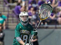 Vermont goalkeeper Nick Washuta (#18) makes a pass as  UAlbany Lacrosse defeats Vermont 14-4  in the American East Conference Championship game at Casey Stadium, May 5.